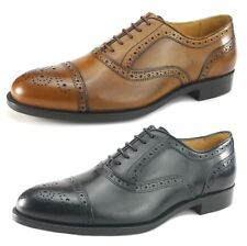 Mercanti Fiorentini Mens Lace Up All Leather Brogue Oxford Tan or Black Shoes