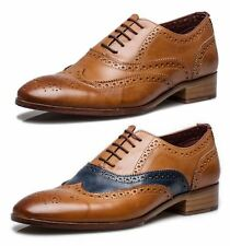 London Brogues Wister Mens Leather Wingtip Formal Lace Up Brogue Shoes Tan Navy