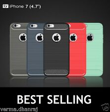 """Brushed Carbon Fibre TPU Thin Back Cover Case For Apple Iphone 7 (4.7"""")"""