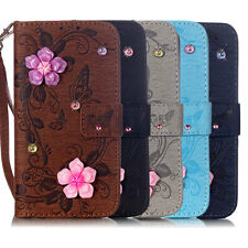 Flower Pattern Diamond Wallet PU Leather Stand Case Cover For Apple iPhone