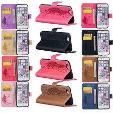 Magnetic Feather Painted PU Leather Wallet Stand Case Cover For iPhone&Sams