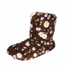 Brown fluffy slippers boots with white spots and wooden button detail