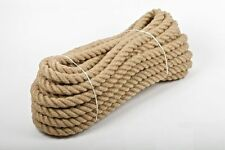 20mm 100% Natural Pure Jute Rope 3 Strand Braided Twisted Cord Twine Sash