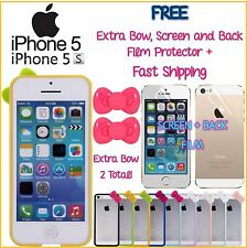 iPhone 5 5S Hello Kitty Bumper FREE 2 Bows Screen Back Film Protector Fast