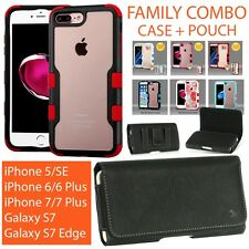 HYBRID CASE + HOLSTER LEATHER POUCH COMBO FOR APPLE IPHONE 5/6/7 & GALAXY S