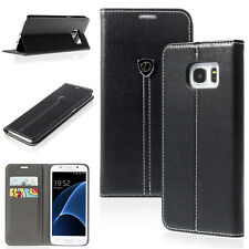 Black PU Wallet Flip Cover Case for Samsung Galaxy S7 Edge Phone