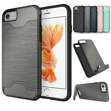 Hybrid Shockproof Card Slot Stand Rubber Armor Case Cover For iPhone 6 6S P