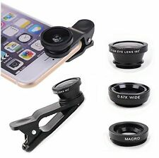 Universal 3 in 1 Cell Phone Camera Lens Kit(Black) 180 Fish Eye+Wide Angle+