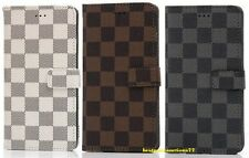 Plaid Luxury Deluxe Leather Wallet Flip Case Cover For Apple iphone 7 6S 6