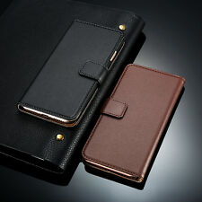 Genuine Leather Retro Stand Magnetic Wallet Card Flip Cover Case for iPhone