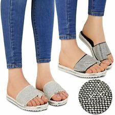 Womens Ladies Flat Diamante Beach Holiday Casual Sandals Summer Low Heels Size