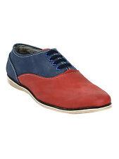 Quarks Men's Dual Color Casual Oxford Derby Shoes- Red&Blue Color - Q1051BL