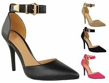 New Womens Buckled Ankle Strap Stiletto Heel Pointed Toe Suede-PU Court Shoes