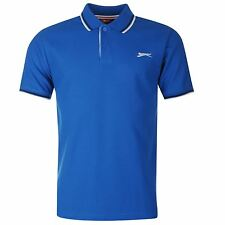 New Slazenger Men's Tipped  Cotton Polo Shirt Tennis Golf  Casual Royal  S - 4XL