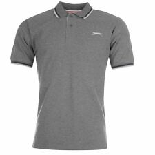 New Slazenger Men Tipped Cotton Polo Shirt Tennis Golf  Casual   M-2XL Charcoal