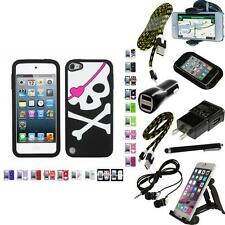 For iPod Touch 5th 6th Gen Silicone Design Skin Soft Phone Case Cover + Bun