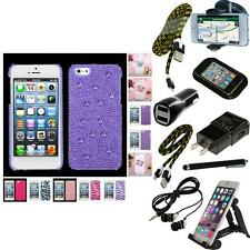 For Apple iPhone 5/5S/SE Diamond Bling Rhinestone Case Phone Cover + Bundle