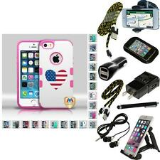 For Apple iPhone 5/5S/SE TUFF IMPACT HARD Armor Case Phone Cover + Bundle