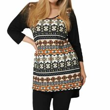 Multi coloured dipped hem top with plain back and 3/4 sleeves