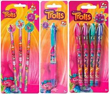 Kids Children Trolls Girls Glitter GEL PENS COLOUR PEN PENCIL AND ERASER Set