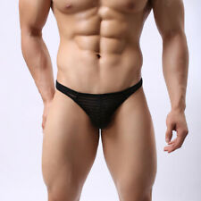 Classic Mens See Through Mesh Micro Briefs Sheer G-String Thongs Underwear