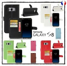Etui porte cartes coque housse PU  leather Wallet case cover Samsung Galaxy S8
