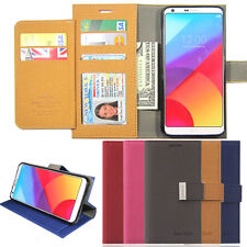 Double Flip leather Wallet CHROME Magnetic Lock Case Cover for LG G6