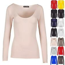 Womens Everyday Casual Jersey Slim Fitted Long Sleeve Scoop Neck T Shirt Tee Top