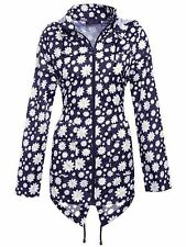 New Womens Lightweight Hooded Zip Daisy Floral Rain Coat Jacket Plus Size
