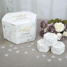 WEDDING CONFETTI Throwing Biodegradable SCRIPTED MARBLE White Silver Grey Heart