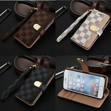 Luxury Grid Leather Card Holder Slot Wallet Flip Case Cover for iPhone & Sa