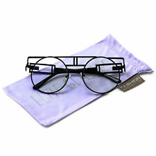 OVERSIZED Hipster Flat TOP Metal Frame Round Retro Clear Lens EYE GLASSES
