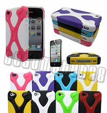 for iphone 4 4s hybrid soft and hard case 3D cool X design plus film /