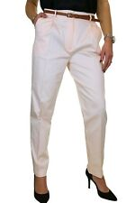 NEW Ladies Chino Tapered Trousers FREE Belt Shell Pink 8-22