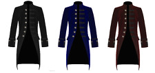 New Mens Steampunk Vintage Tailcoat  Jacket Velvet Gothic Victorian Frock Coat