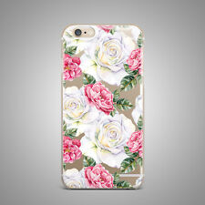 White Retro Roses Floral Flower TPU Silicone Rubber Clear Case Cover for iP
