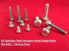 M5 M6 M8 M10 Metric A2 Stainless Steel Flange Bolts Flanged Hexagon Head Screws