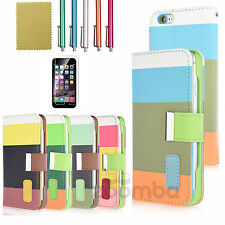 For Apple iPhone 6 Leather Magnetic Stand Wallet Card Holder Flip Cover Cas