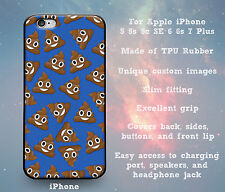 Pile of Poo Emoji Blue Rubber Case Cover Skin for iPhone 5 5s 5c SE 6 6s 7