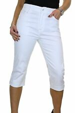 Chino Stretch Capri Crop Leg Jeans Diamante Cuff White NEW 14-24