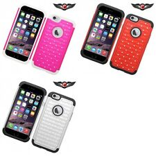 For Apple iPhone 6/6S Rubberized Diamond Slim Dual Layer Bling Case Cover