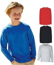 Fruit of the Loom coton uni enfants garçon fille t-shirt manches longues T-shirt