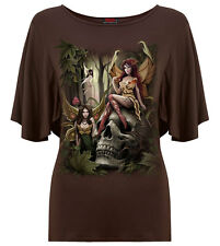 Spiral Woodland Fairy, Boat Neck Bat Sleeve Top Chocolate RRP=19.99