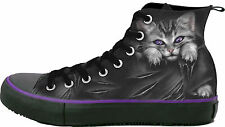 Spiral Bright Eyes, Sneakers - Ladies High Top Laceup|Cat|Rips|Cute