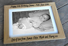Personalised wooden photo frame, 6x4 7x5 8x6 or A4 size, 50th birthday present