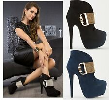WOMENS FAUX SUEDE GOLD DIAMANTE CONCEALED PLATFORM HIGH HEEL ANKLE BOOTS SHOES