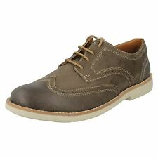 SALE MENS CLARKS TAUPE SUEDE CLASSIC STYLISH LACE UP BROGUE SHOES RASPIN BROGUE
