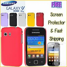 Samsung Young Y S5360 Hard Hybrid Litchi Texture Cover Case FREEScreen Prot
