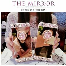 Bling Diamond Crystal Ring Holder Kickstand Mirror Case Cover For iPhone/Sa