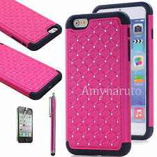 Bling Crystal Shockproof Rugged Hybrid Rubber Cover Case for iPhone 6 6s Pl